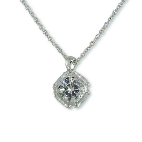 SILVER DIAMOND CZ CUBE NECKLACE