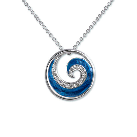 SILVER BLUE CZ DIAMOND PEARL WAVE PENDANT NECKLACE