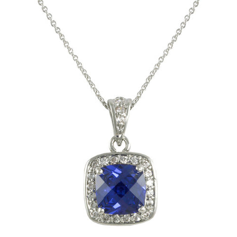 SQUARE BLUE TANZANITE CZ DIAMOND PENDANT NECKLACE