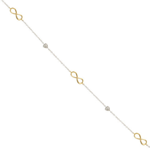 2 TONE GOLD SILVER INFINITY NECKLACE DIAMOND HEARTS CHAIN