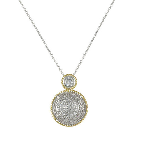 2 TONE GOLD SILVER ROUND PAVE DIAMOND NECKLACE