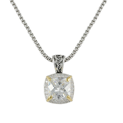 2 TONE GOLD SILVER ANTIQUE SQUARE PENDANT NECKLACE CZ DIAMONDS
