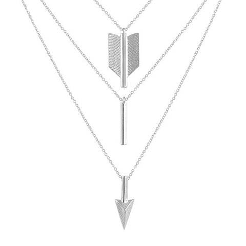 SILVER LAYERED ARROW NECKLACE