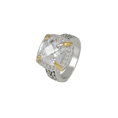 2 TONE GOLD SILVER ANTIQUE WEAVE SQUARE DIAMOND RING