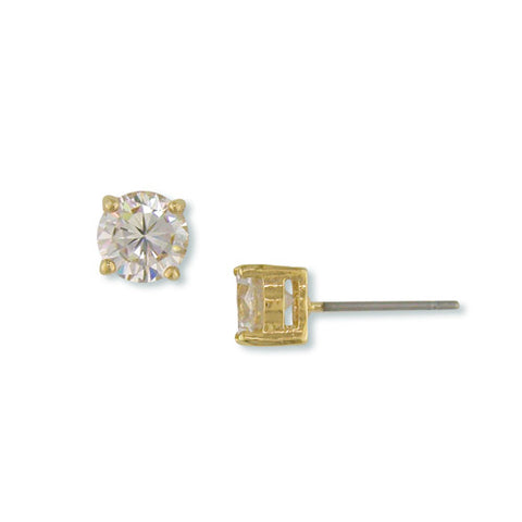 GOLD ROUND STUD EARRINGS FASHION JEWELRY CZ DIAMOND