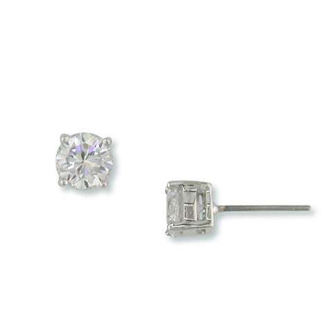 SILVER ROUND STUD EARRINGS FASHION JEWELRY DIAMONDS