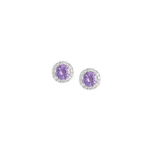 SILVER AMETHYST BIRTHSTONE STUD EARRINGS