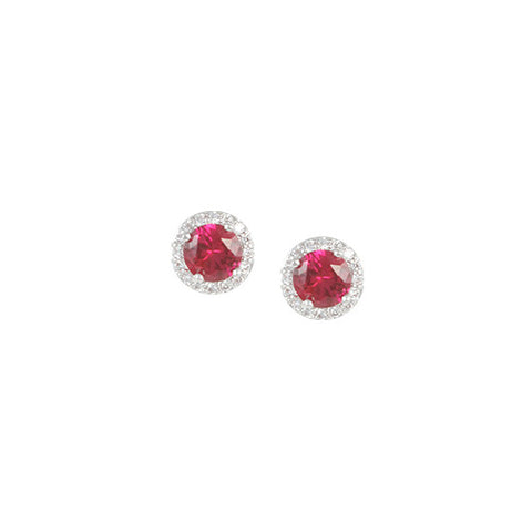 RUBY STUD EARRINGS BIRTHSTONE JEWELRY CZ DIAMONDS
