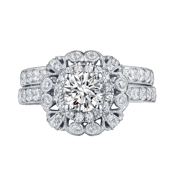 Round Diamond Engagement Ring S201602A and Band Set S201602B