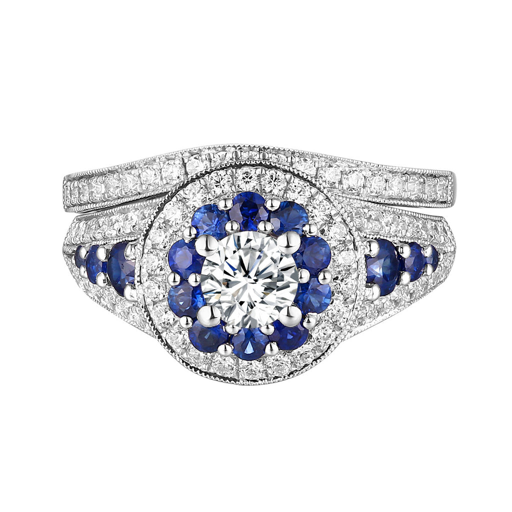 Precious Diamond Engagement Ring S201827A and Band Set S201827B