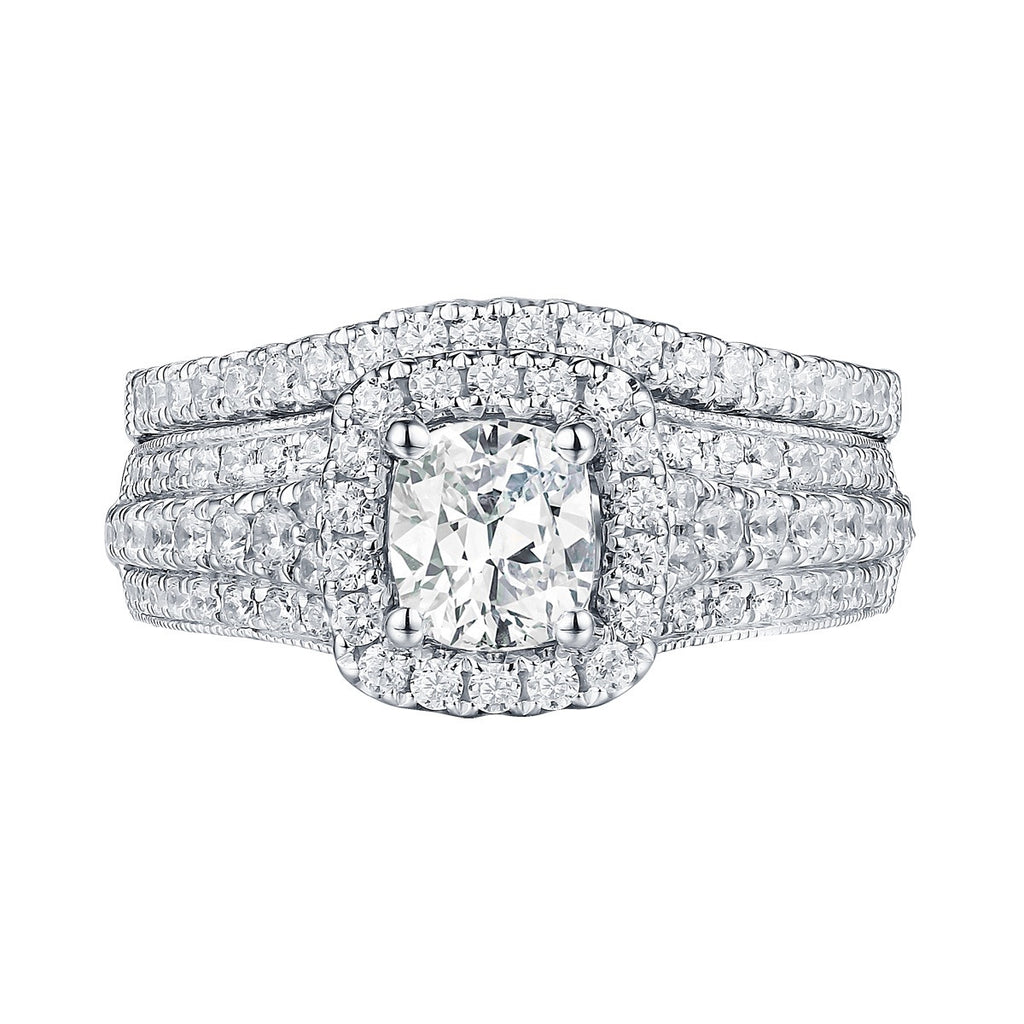 Cushion Cut Engagement Ring S201633A and Band Set S201633B