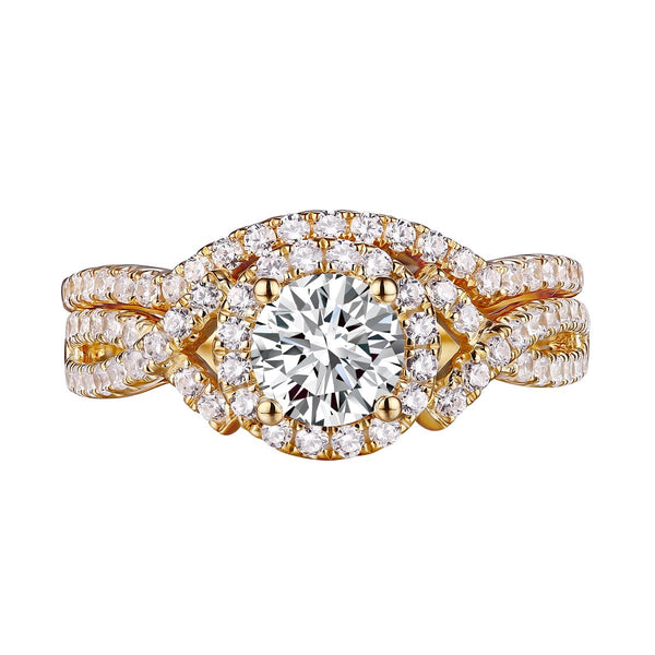 Round Diamond Engagement Ring S201601A and Band Set S201601B