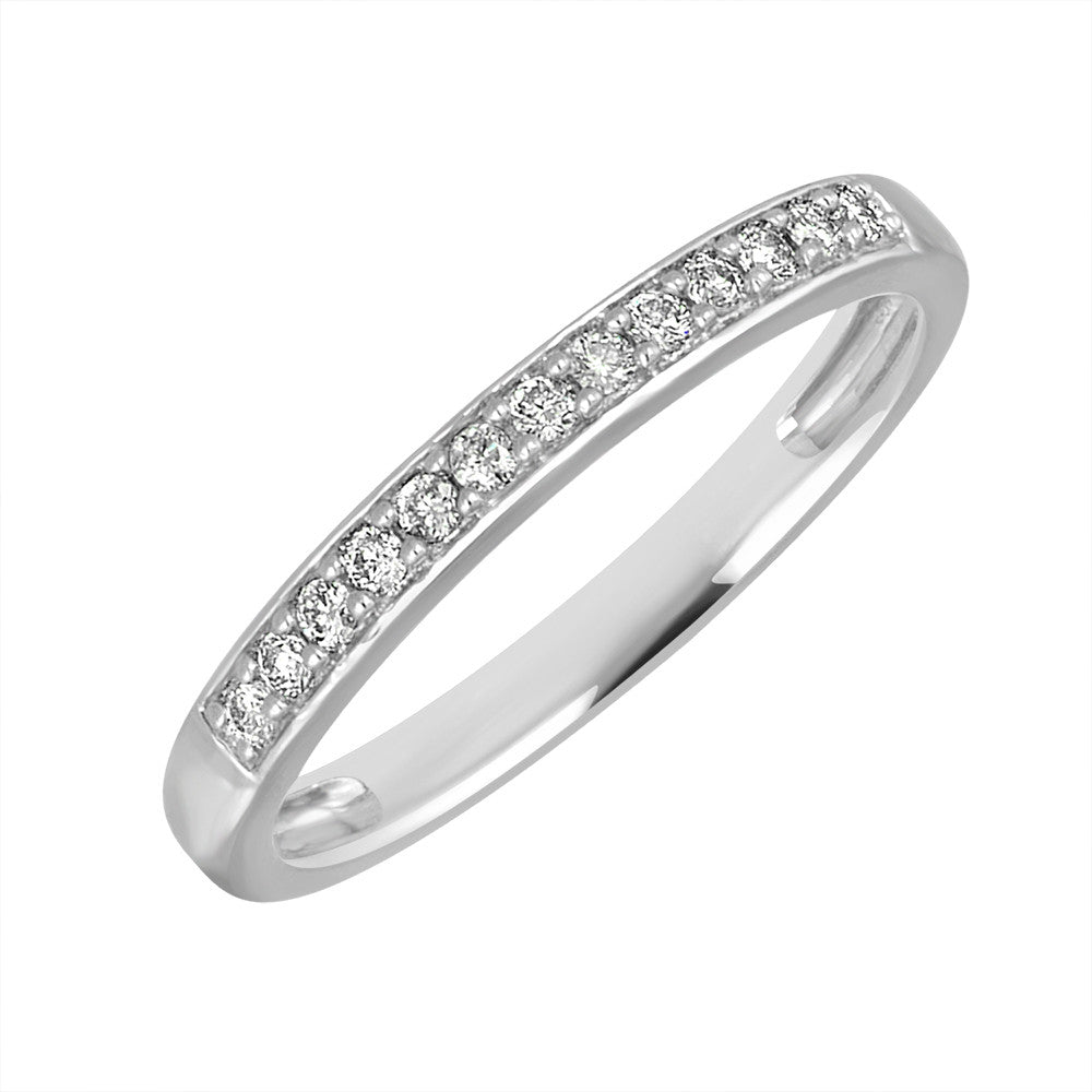 White Gold Band Ring 14 KT in 0.15 Ct Tw | BQ1087R015