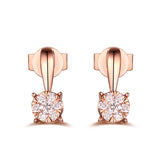 Rose Gold Cluster Diamond Pendant S2012150 and Rose Gold Cluster Ring S2012151 and Rose Gold Cluster Earring S2012152