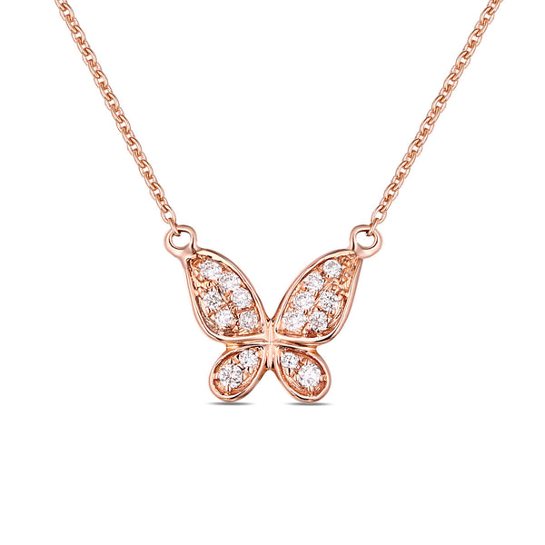 Rose Gold Diamond Butterfly Pendant - S2012136