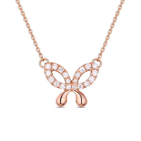 Rose Gold Diamond Butterfly Pendant - S2012137