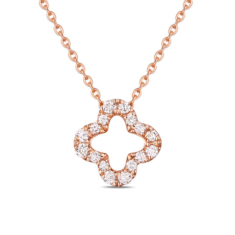 Rose Gold Diamond Flower Pendant - S2012139
