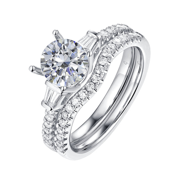 White Gold Fancy Cut Round and Taper Diamond Engagement Ring S2012075A and Matching Wedding Ring S2012075B