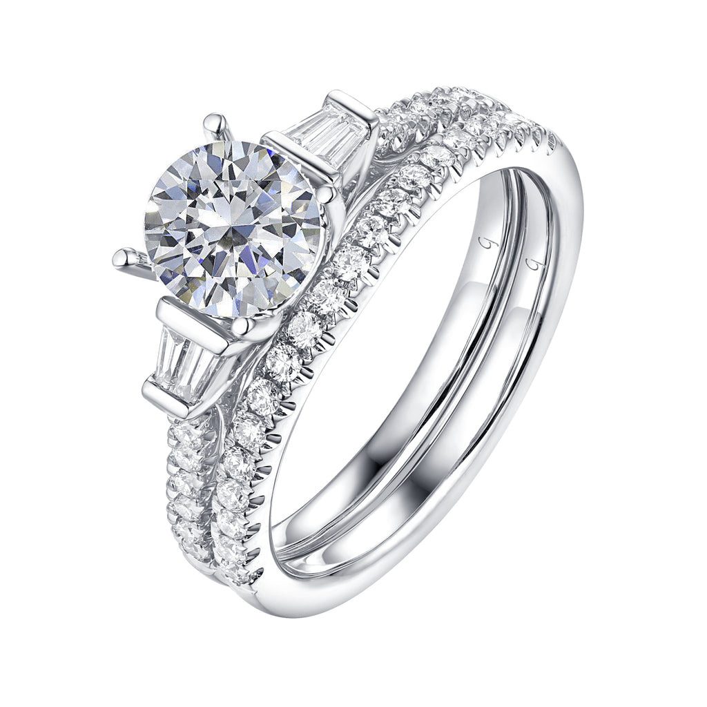 Fancy Cut Round and Taper Diamond Engagement Ring S2012076A and Matching Wedding Ring S2012076B