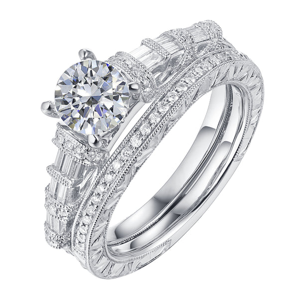 Fancy Cut Round and Taper Diamond Engagement Ring S2012077A and Matching Wedding Ring S2012077B