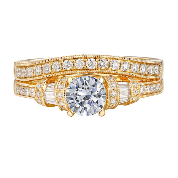 Fancy Cut Round and Taper Diamond Engagement Ring S2012078A and Matching Wedding Ring S2012078B