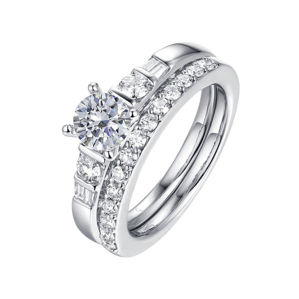 Fancy Cut Round and Taper Diamond Engagement Ring S2012080A and Matching Wedding Ring S2012080B