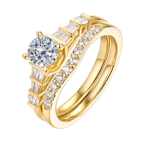 Fancy Cut Round and Taper Diamond Engagement Ring S2012081A and Matching Wedding Ring S2012081B