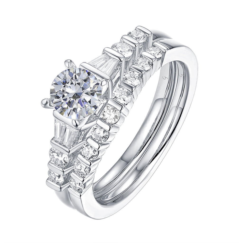 Fancy Cut Round and Taper Diamond Engagement Ring S2012082A and Matching Wedding Ring S2012082B