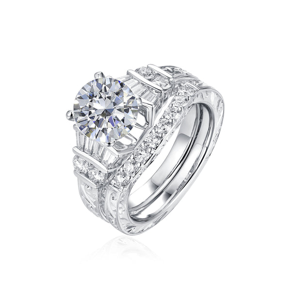 Fancy Cut Round and Taper Diamond Engagement Ring S2012083A and Matching Wedding Ring S2012083B