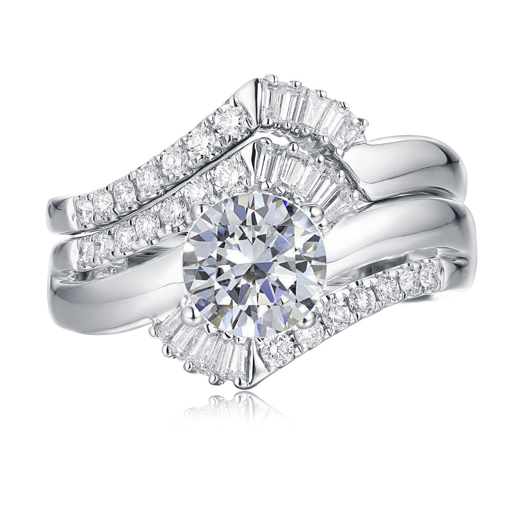 Fancy Cut Round and Taper Diamond Engagement Ring S2012085A and Matching Wedding Ring S2012085B