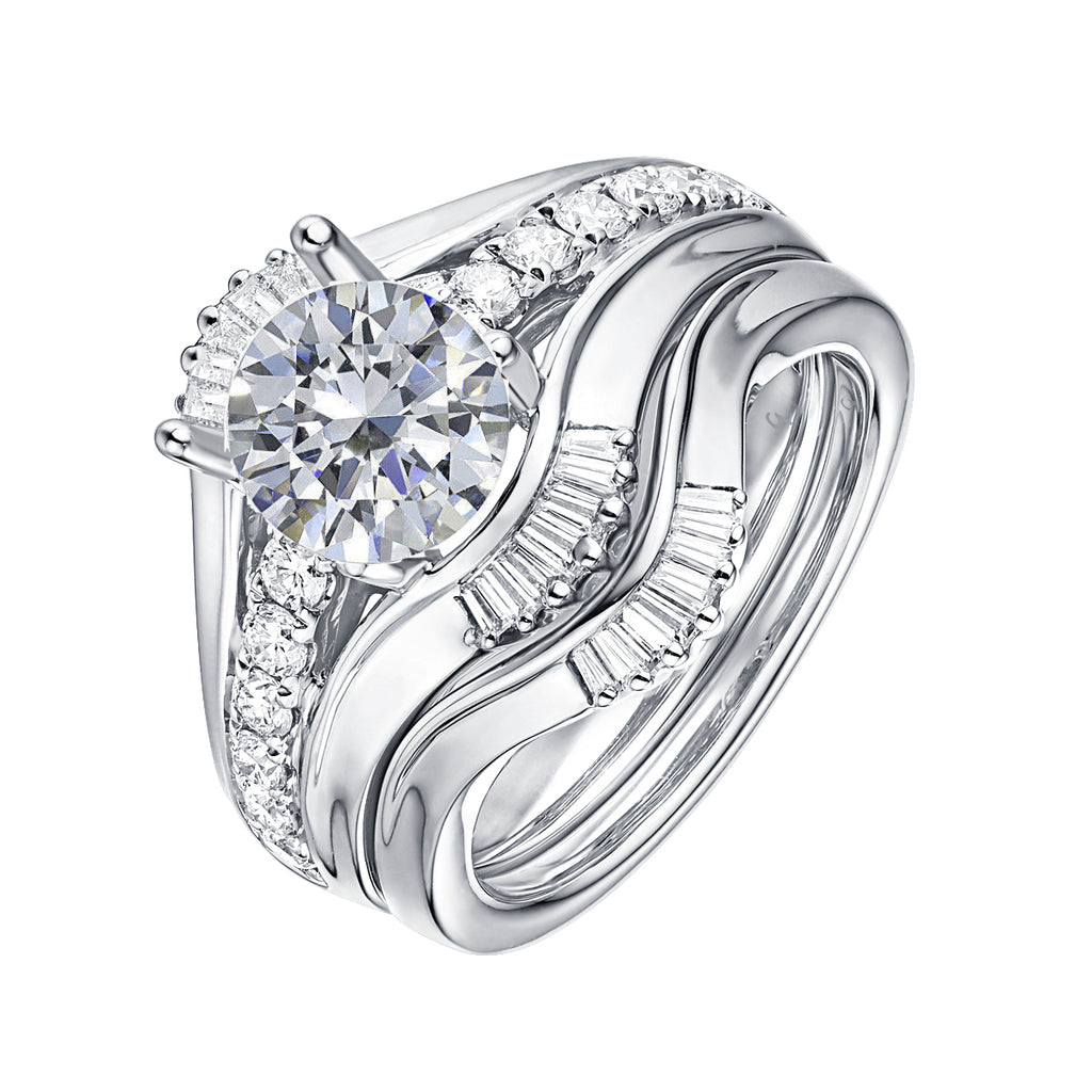 Fancy Cut Round and Taper Diamond Engagement Ring S2012086A and Matching Wedding Ring S2012086B