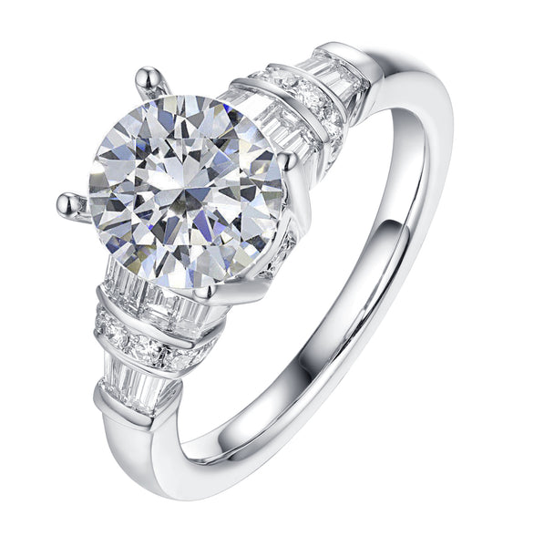 Fancy Cut Round and Taper Diamond Engagement Ring S2012087A