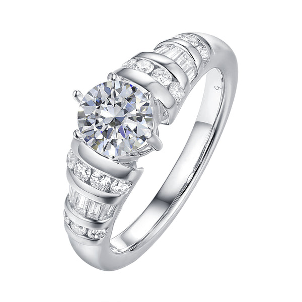 Fancy Cut Round and Taper Diamond Engagement Ring S2012088A