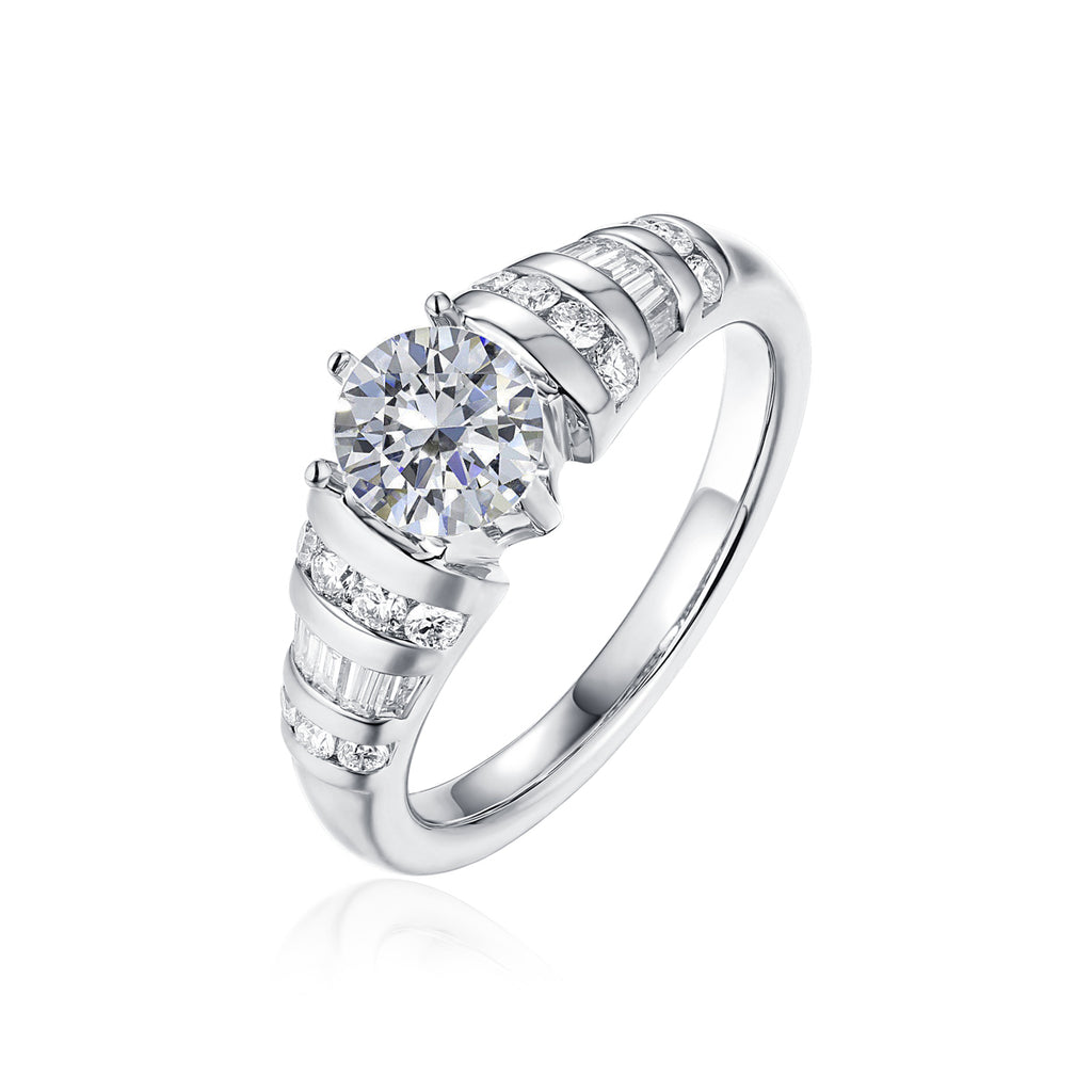 Fancy Cut Round and Taper Diamond Engagement Ring S2012089A