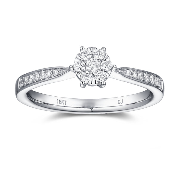 White Gold Diamond Cluster Ring - S2012148