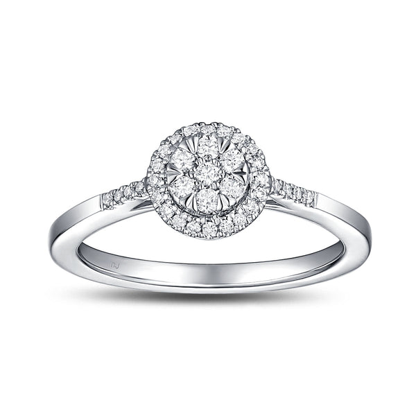 White Gold Diamond Cluster Halo Ring - S2012154
