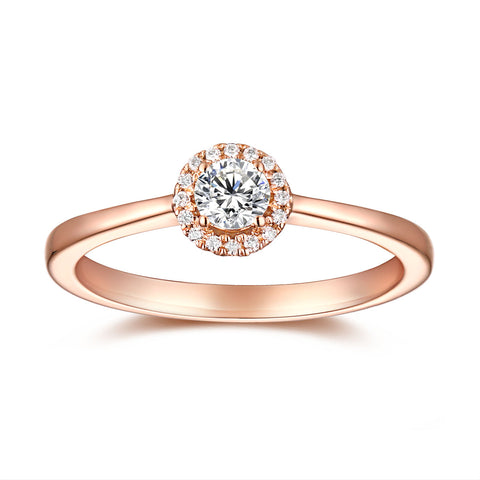 Rose Gold Halo Ring S2012156 and Rose Gold Halo Pendant S2012157