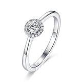 White Gold Halo Ring S2012156 and White Gold Halo Pendant S2012157