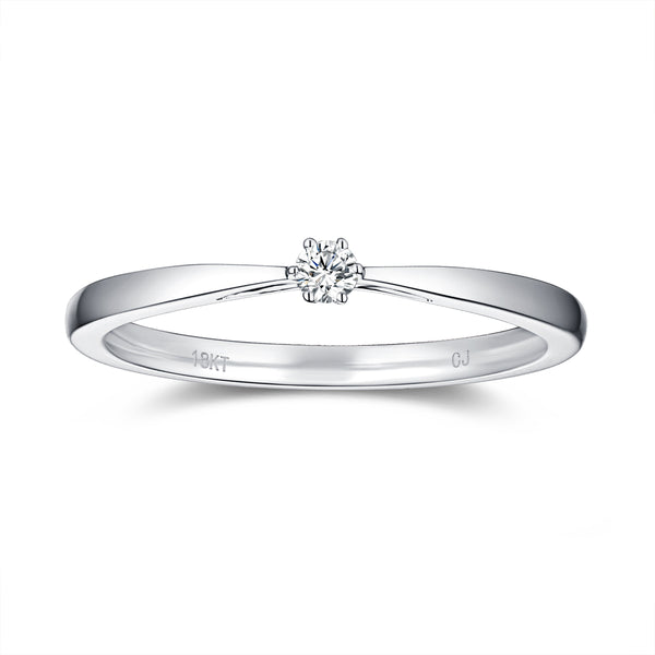 White Gold Diamond Promise Solitiare Ring - S2012165