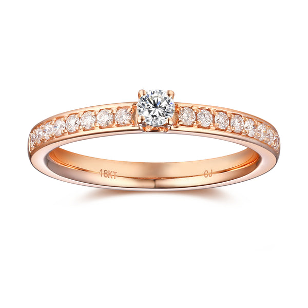 Rose Gold Diamond Promise Solitaire Ring - S2012166