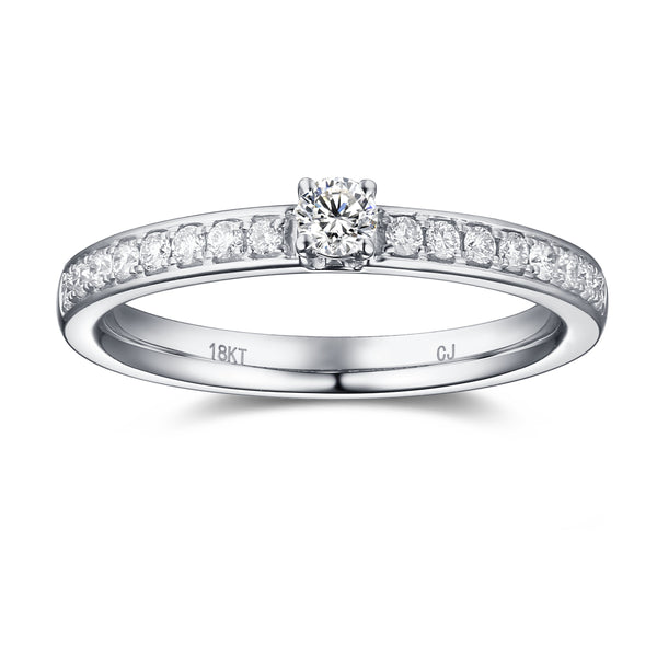 White Gold Diamond Promise Solitaire Plus Ring - S2012166