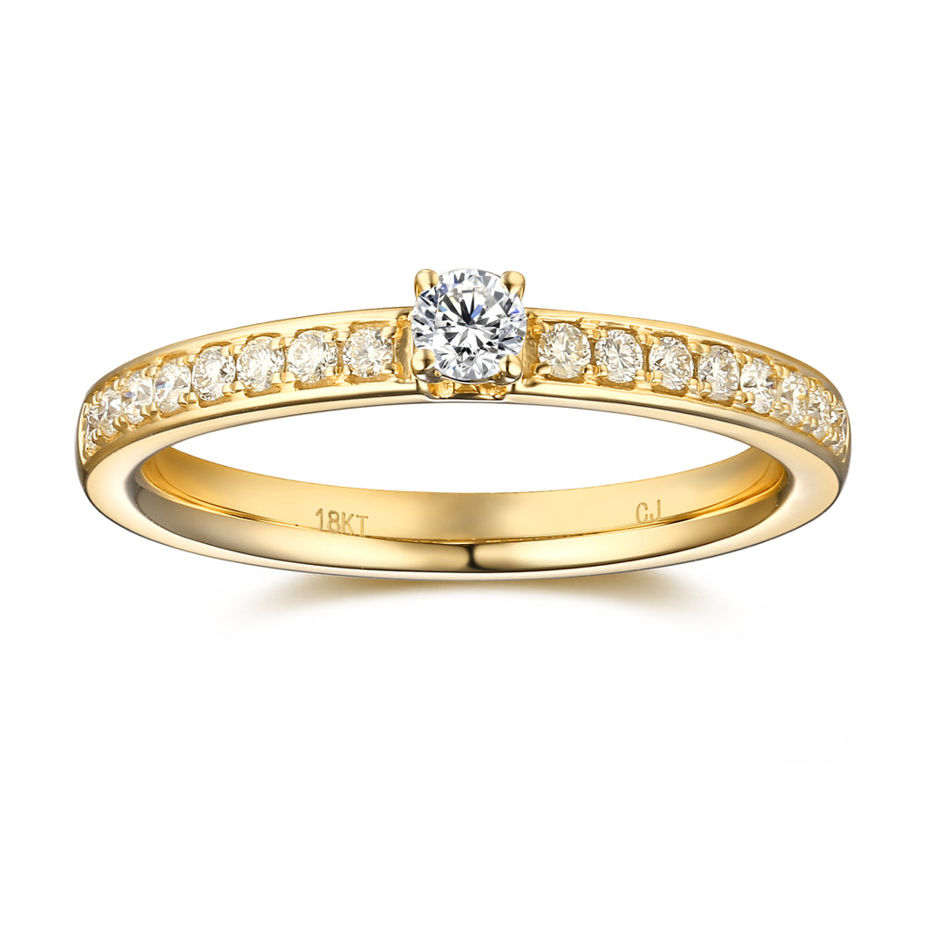 Yellow Gold Diamond Promise Solitaire Plus Ring - S2012166