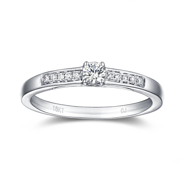 White Gold Diamond Solitaire Plus Promise Ring - S2012167