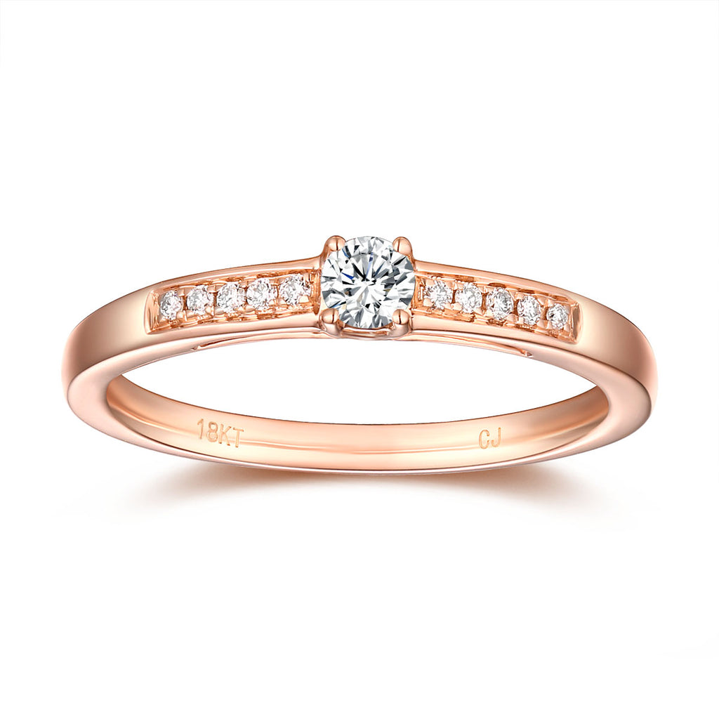 Rose Gold Diamond Solitaire Plus Promise Ring - S2012167