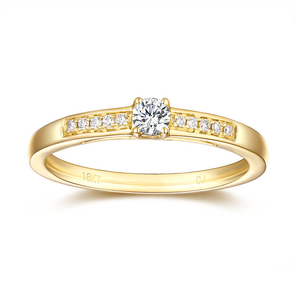 Yellow Gold Diamond Solitaire Plus Promise Ring - S2012167