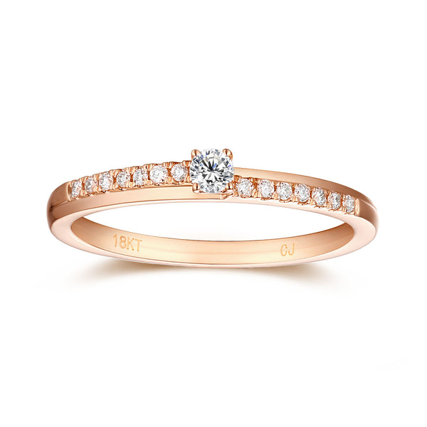 Rose Gold Diamond Solitaire Plus Promsie Ring - S2012168