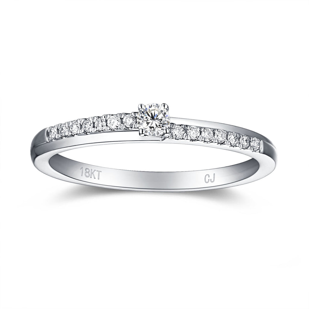 White Gold Diamond Solitaire Plus Promise Ring - S2012168