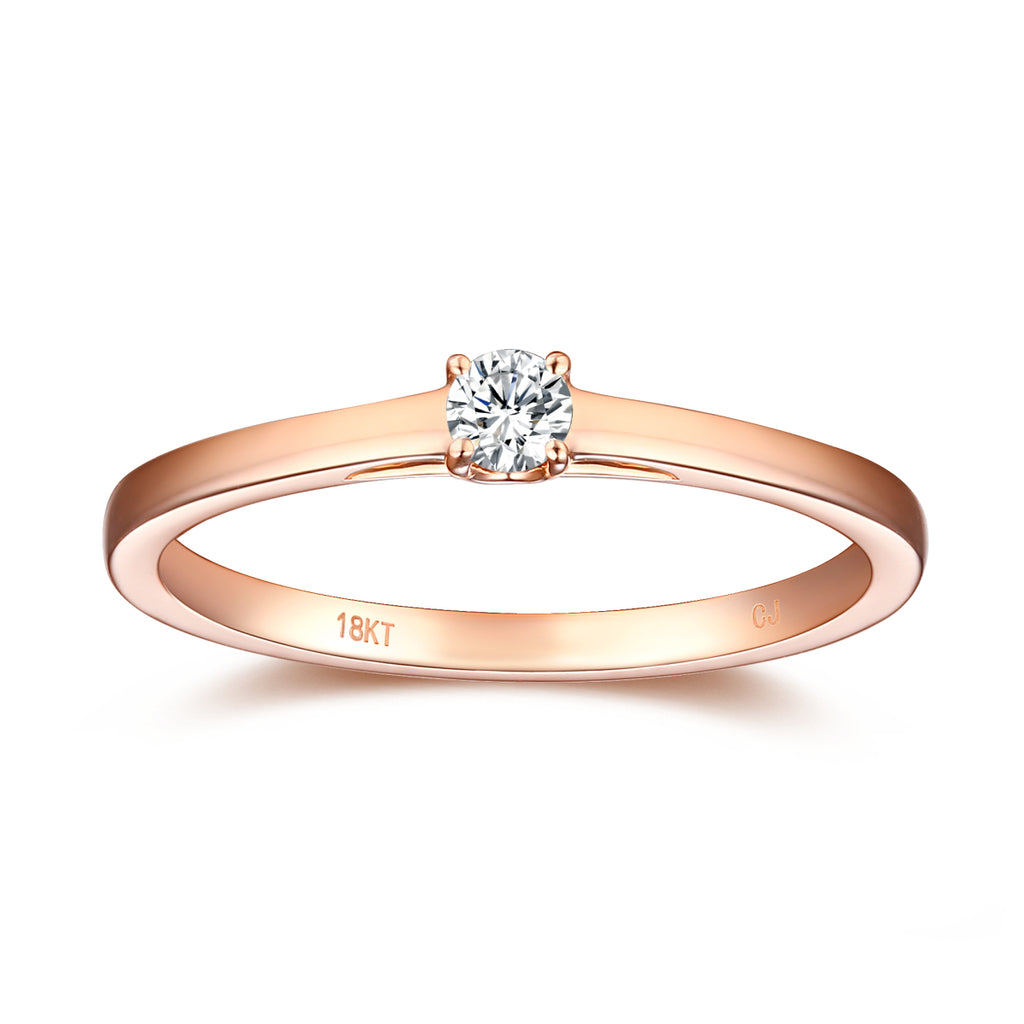 Rose Gold Diamond Solitiare Promise Ring - S2012169