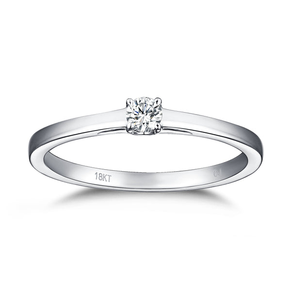 White Gold Diamond Solitaire Promise Ring - S2012169