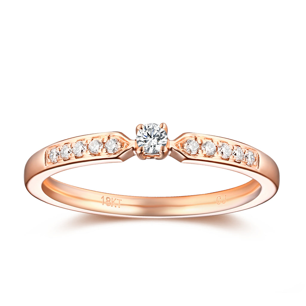 Rose Gold Diamond Solitaire Plus Promise Ring - S2012170